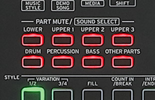 detail image of Korg XE20 top panel showing sound select buttons