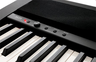 detail image of Korg XE20 top panel showing closeup of left speaker grille