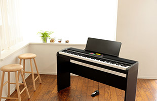 image of Korg XE20 on stand on wood floor with two wooden stools and a plant