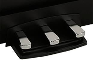 detail image of Korg XE20SP triple pedal unit showing pedals