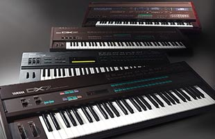 collage image showing several models of Yamaha DX synthesizers