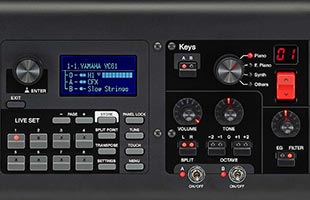 detail image of Yamaha YC73 panel showing screen, master controls and keyboard controls